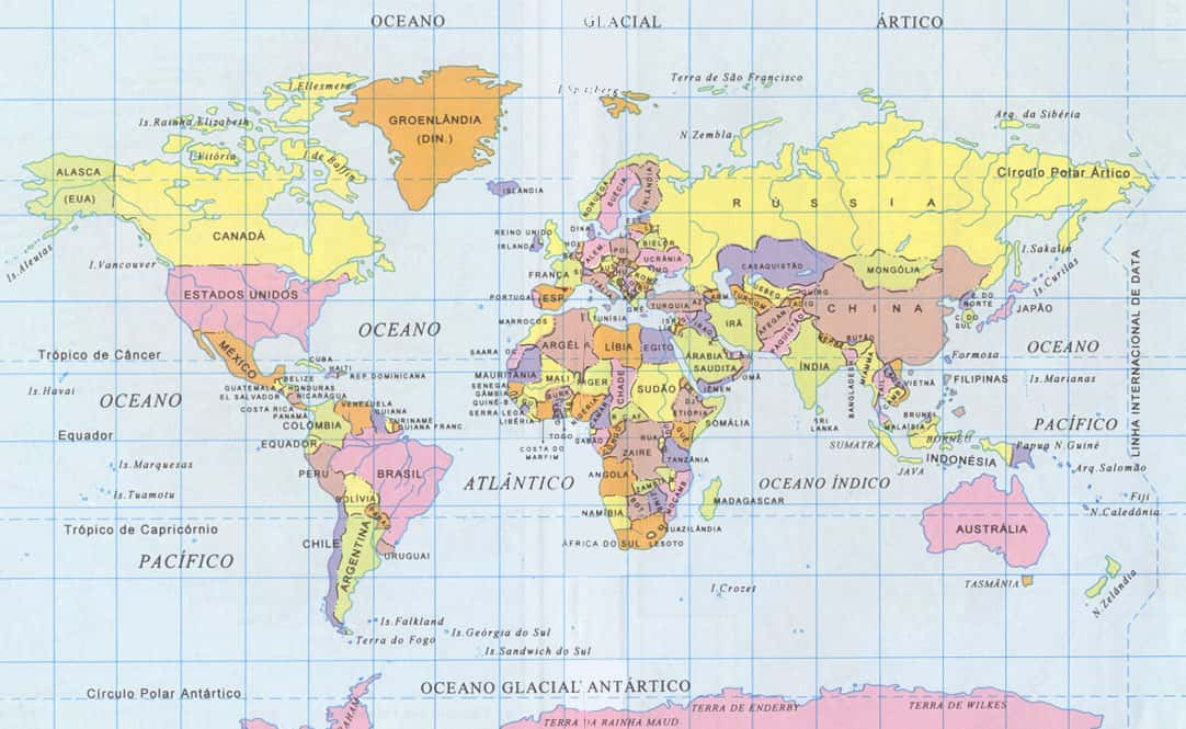mapa mundi em portugues Mapa Mundi   Geografia   Grupo Escolar mapa mundi em portugues