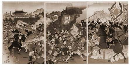 Pintura mostrando a batalha japonesa-russa