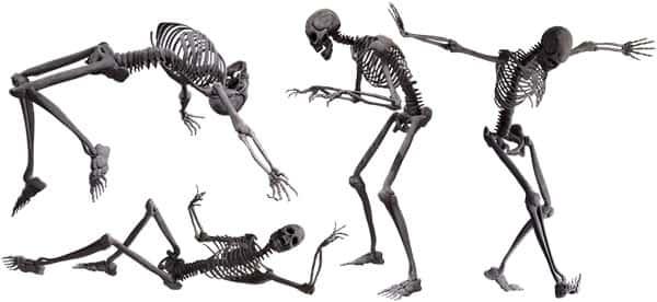 Esqueletos em simulação de movimento - Corpo Humano