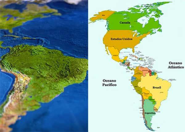 Mapa da América, Países