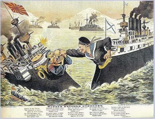 Ilustração navios russos e japoneses em guerra, Russia batendo no Japão