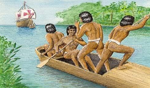 Índios avistando a embarcação portuguesa