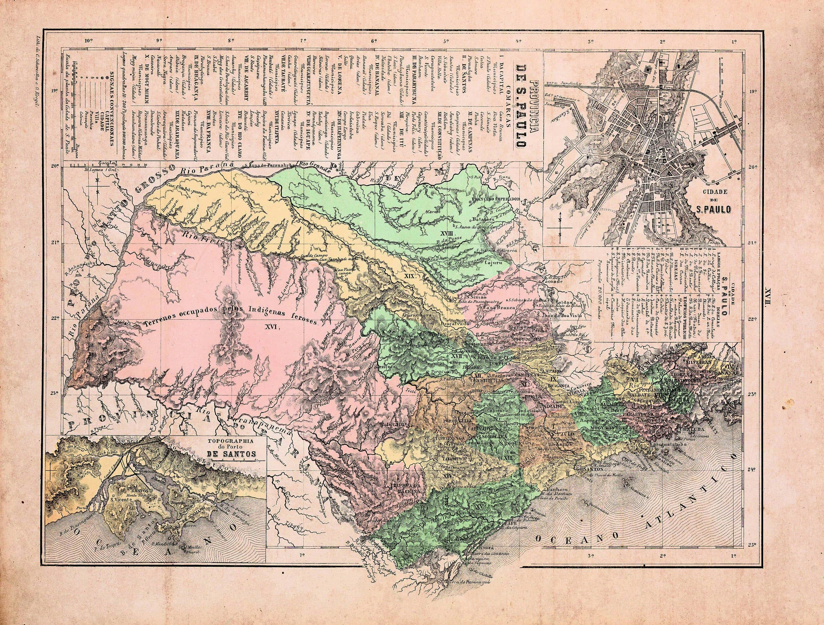 Mapa antigo de São Paulo de 1868 e Topografia de Santos
