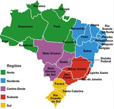 Mapa do Brasil, Regiões Brasileiras