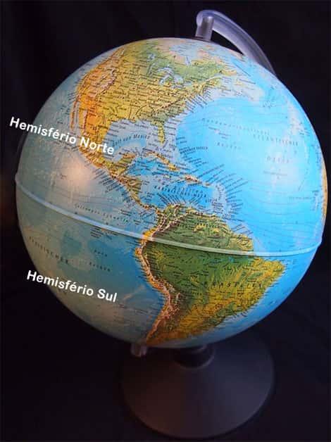 Globo terrestre, hemisferio norte e sul