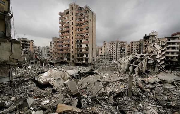 Destruição de prédios, Guerra do Libano