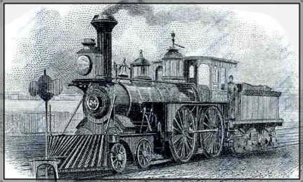 Trem a vapor, ferrovia antiga, ilustração