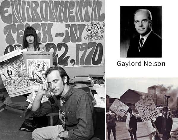 Americanos celebrando o primeiro dia da Terra. Inspirados pelo senador Gaylord Nelson e a ativista John McConn