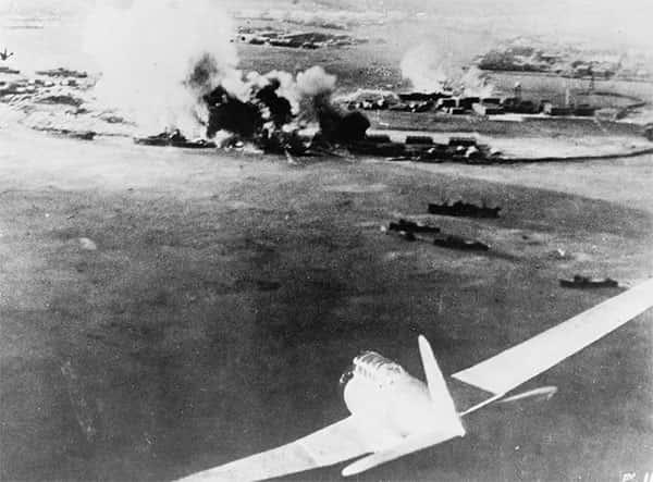 Fotografia aérea, tirada por um piloto japonês