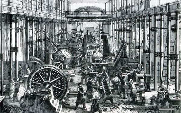 Ilustração trabalhadores em fabrica antiga