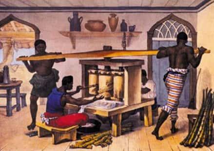 Escravos moendo cana