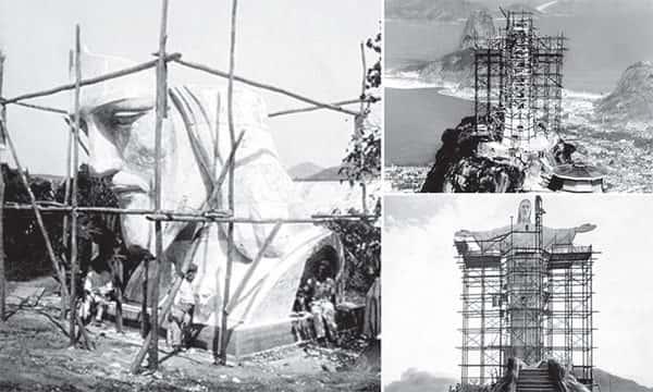 Cabeça, montagem e construção do Cristo Redentor, Foto antiga