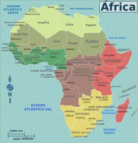 Mapa dos Países da África