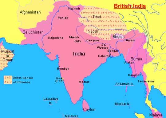 Mapa da Índia Britânica