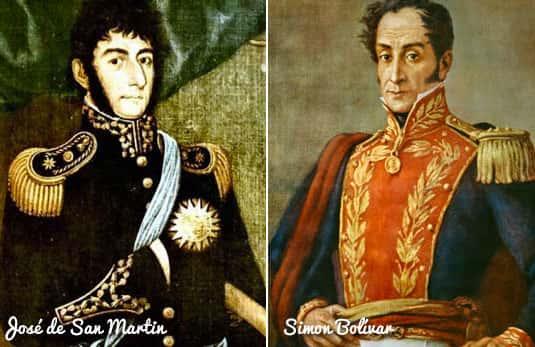 Simon Bolívar e José de San Martin
