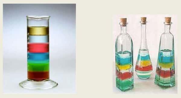 Diferentes densidades dos liquidos