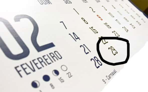 29 de Fevereiro, calendario