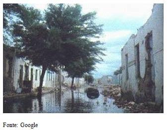 Cidade de Casa Nova (BA), que em 1977 foi submersa pela barragem da usina de Sobradinho